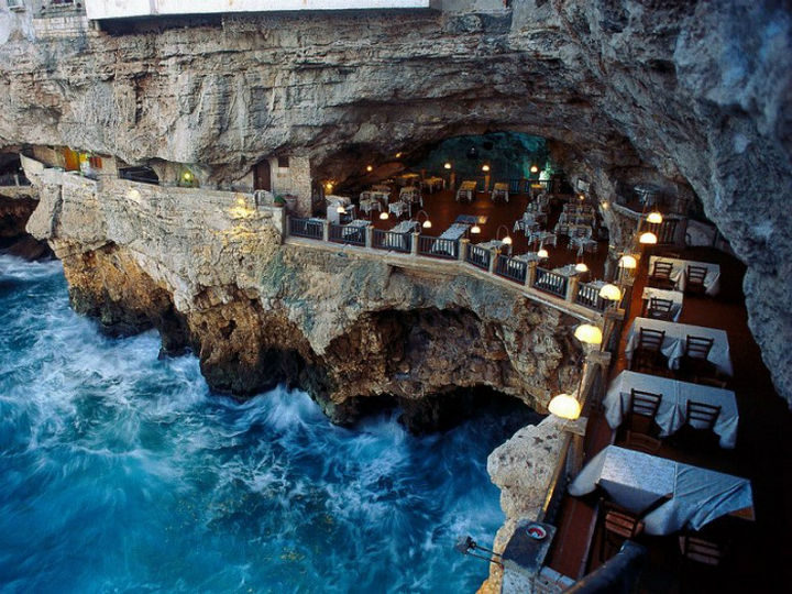 39 Amazing Restaurants With a View - Ristorante Grotta Palazzese in Puglia, Italy.