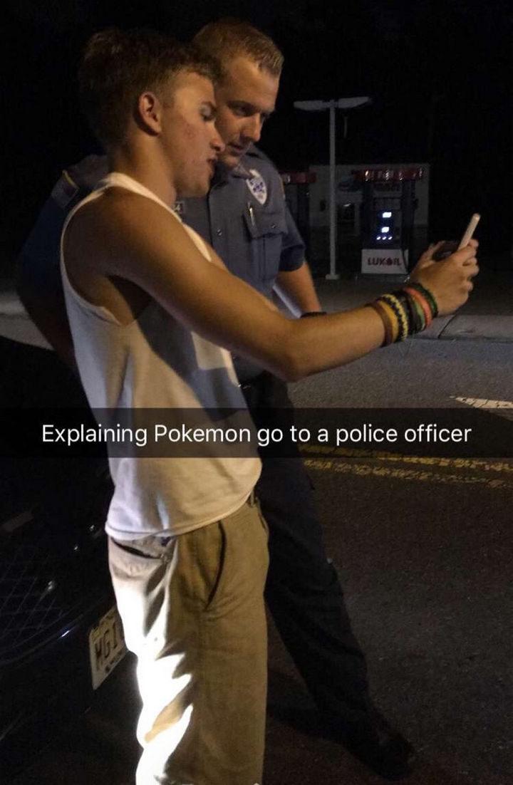 """Explaining Pokémon Go to a police officer."""