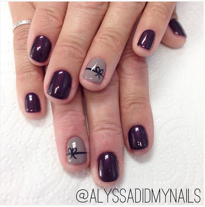 17 bow nail art designs that are too adorable not to try 17 bow nail art designs this mauve design is perfect for fall prinsesfo Image collections
