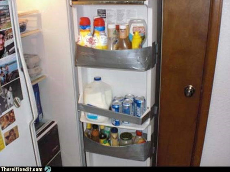 "20 Hilarious Ways Men Can Fix Anything - ""The refrigerator door is broken? I can fix that!"""