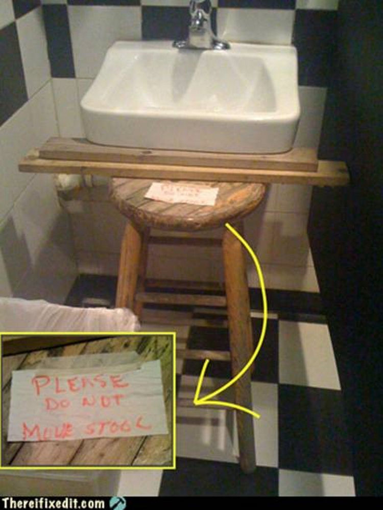 "20 Hilarious Ways Men Can Fix Anything - ""We need to install a new sink? I can fix that!"""