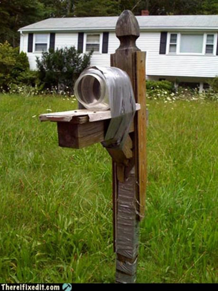"20 Hilarious Ways Men Can Fix Anything - ""The mailbox post is broken? I can fix that!"""