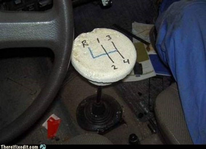 "20 Hilarious Ways Men Can Fix Anything - ""The shift knob on the car broke? I can fix that!"""