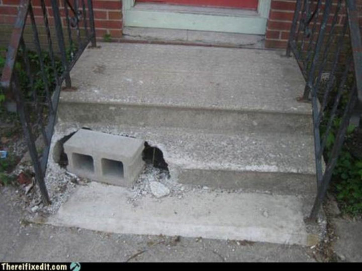 "20 Hilarious Ways Men Can Fix Anything - ""The doorstep needs to be repaired? I can fix that!"""