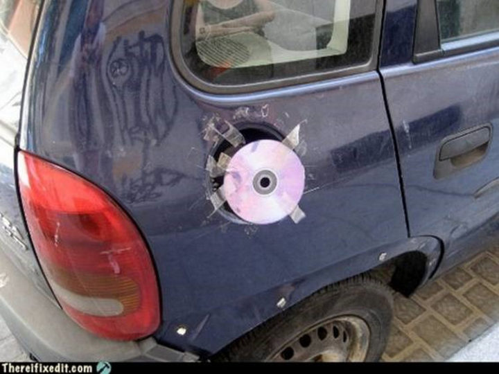 "20 Hilarious Ways Men Can Fix Anything - ""The fuel door cover broke off? I can fix that!"""