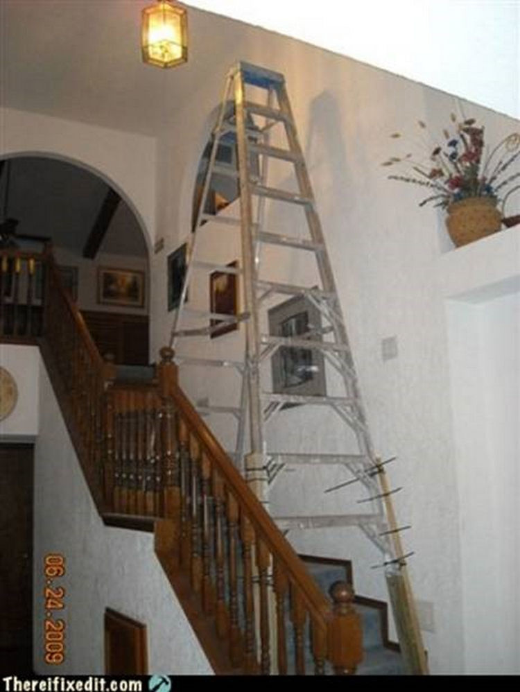 "20 Hilarious Ways Men Can Fix Anything - ""Can't reach the ceiling above the stairway? I can fix that!"""