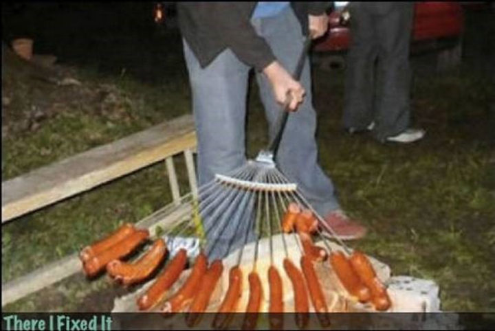 "20 Hilarious Ways Men Can Fix Anything - ""Need to roast some hot dogs? I can fix that!"""