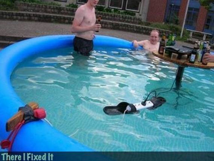 "20 Hilarious Ways Men Can Fix Anything - ""Want to listen to some tunes by the pool? I can fix that!"""
