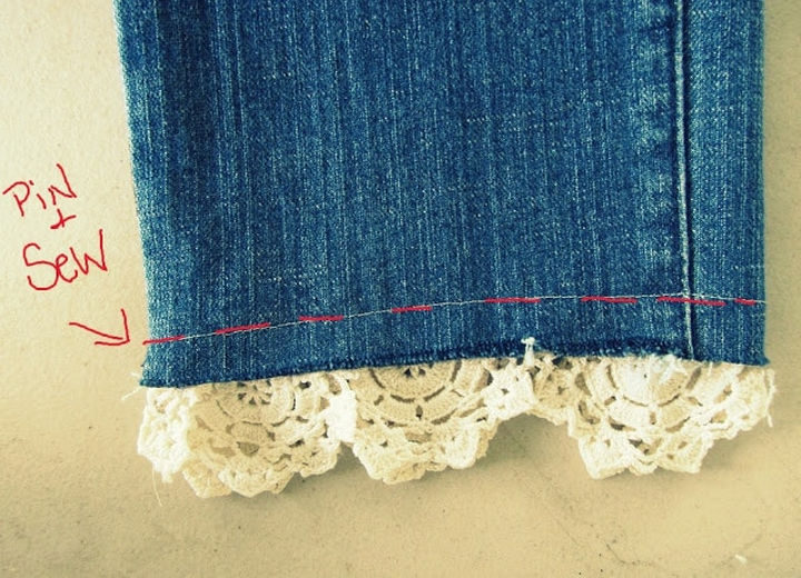 22 Kickass Life Hacks for Girls - Add a stylish lace cuff to your jeans.