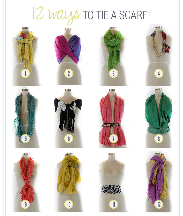 22 Kickass Life Hacks for Girls - Create 12 new styles with your existing scarves.