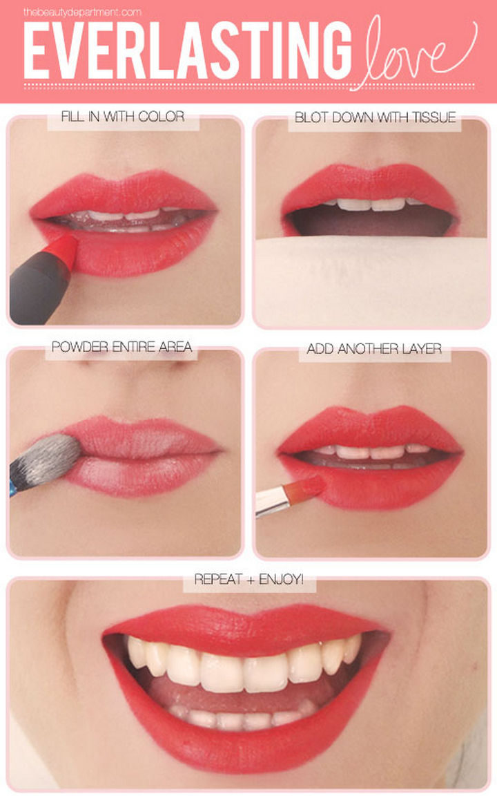 22 Kickass Life Hacks for Girls - Get your lips looking great all night long.