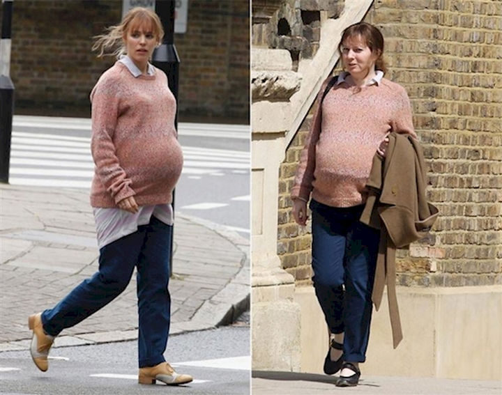 """23 Celebrities Hanging Out With Their Stunt Doubles - Rachel McAdams and her body double on the set of """"About Time."""""""