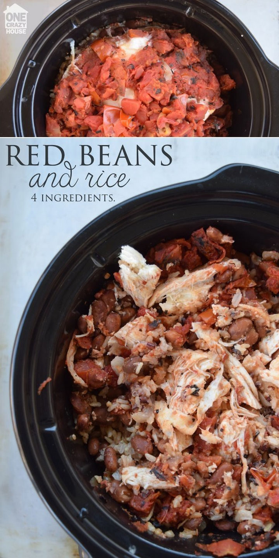 26 Crock Pot Dump Meals - Classic chicken, beans and rice.