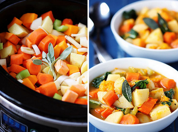 26 Crock Pot Dump Meals - Slow cooker root vegetable stew.