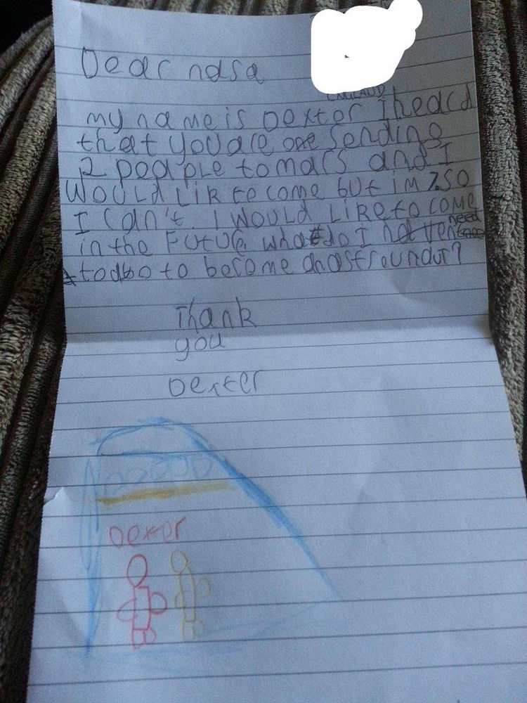 7 Year Old Boy Writes Letter NASA Becoming Astronaut 01