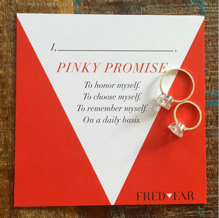 Each ring comes with a pledge card where you commit yourself to honor, choose, and remember the person you are on a daily basis.