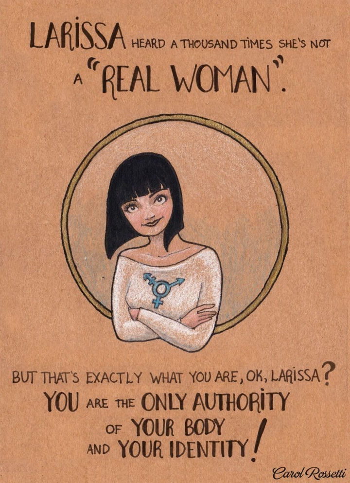 """Inspiring Drawings by Brazilian Artist Carol Rossetti - """"Larissa heard a thousand times she's not a """"Real Woman."""" But that's exactly what you are, OK, Larissa? You are the only authority of your body and your identity!"""""""