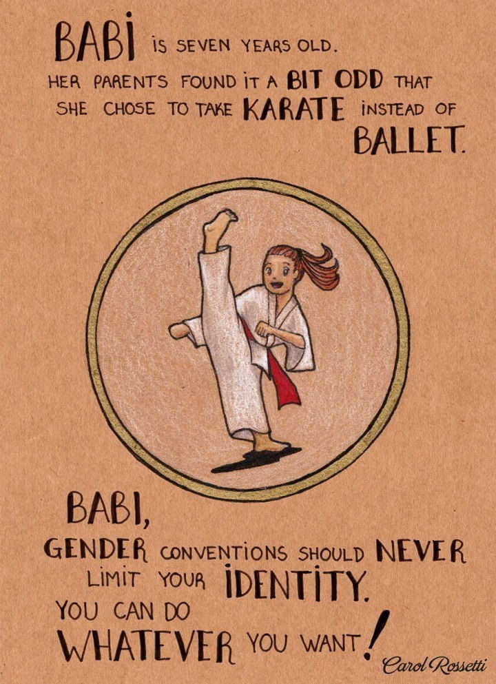 """Inspiring Drawings by Brazilian Artist Carol Rossetti - """"Babi is seven years old. Her parents found it a bit odd that she chose to take karate instead of ballet. Babi, gender conventions should never limit your identity. You can do whatever you want!"""""""