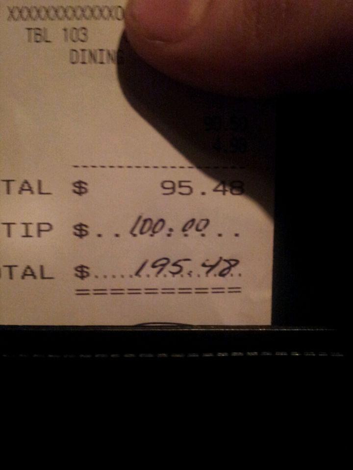 Server Having a Bad Shift Gets a $100 Tip.