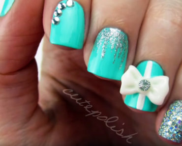 How To Create Tiffany Blue Diamond Nails Wedding Manicure.