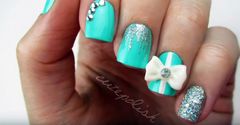 How To Create Tiffany Blue Diamond Nails Wedding Manicure