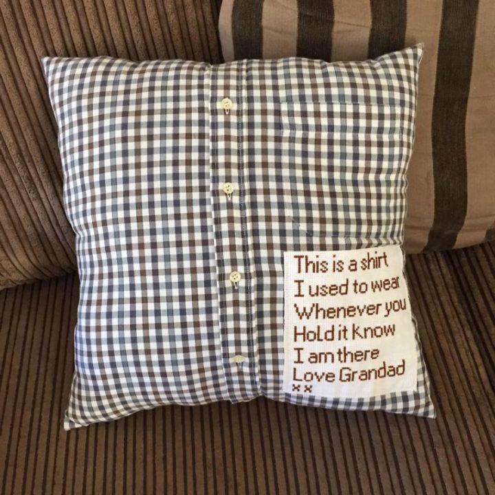 Precious Memory Cushion Made From Her Grandpa's Favorite Shirt