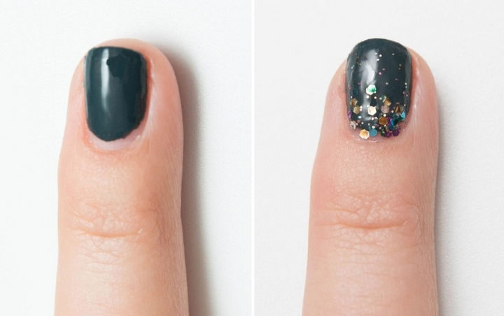 13 Quick and Easy Ways to Save a Chipped Manicure - It even works with grown out manicures too. Glitter lasts forever!