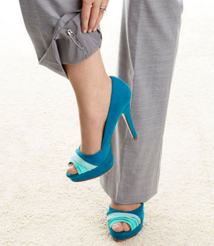 17 Brilliant Clothing Hacks - Prevent static cling by clipping a safety pin onto the inner seam of each pant leg.