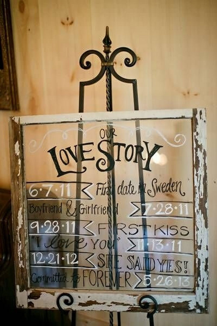 18 Wedding Signs That Are So Perfect - Our love storyboard.