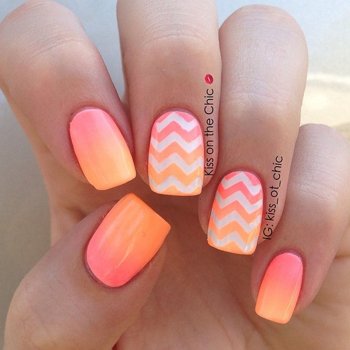 19 gorgeous ombre nails that bring gradients to a whole new level 19 gorgeous ombre nails peach ombr nails with chevron ombr accents is beyond gorgeous prinsesfo Choice Image