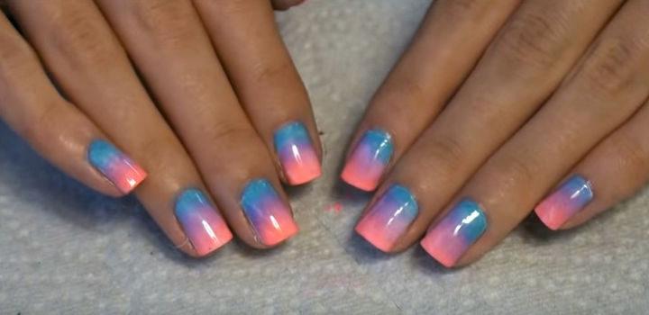 Colorful ombré nails.