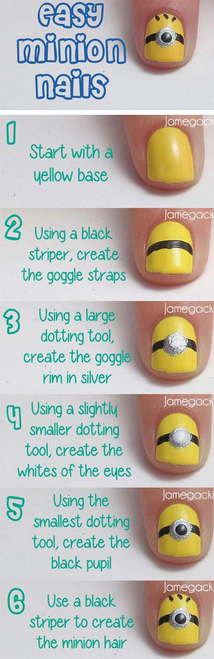 19 Minion Nails - Easy DIY Minion nails!