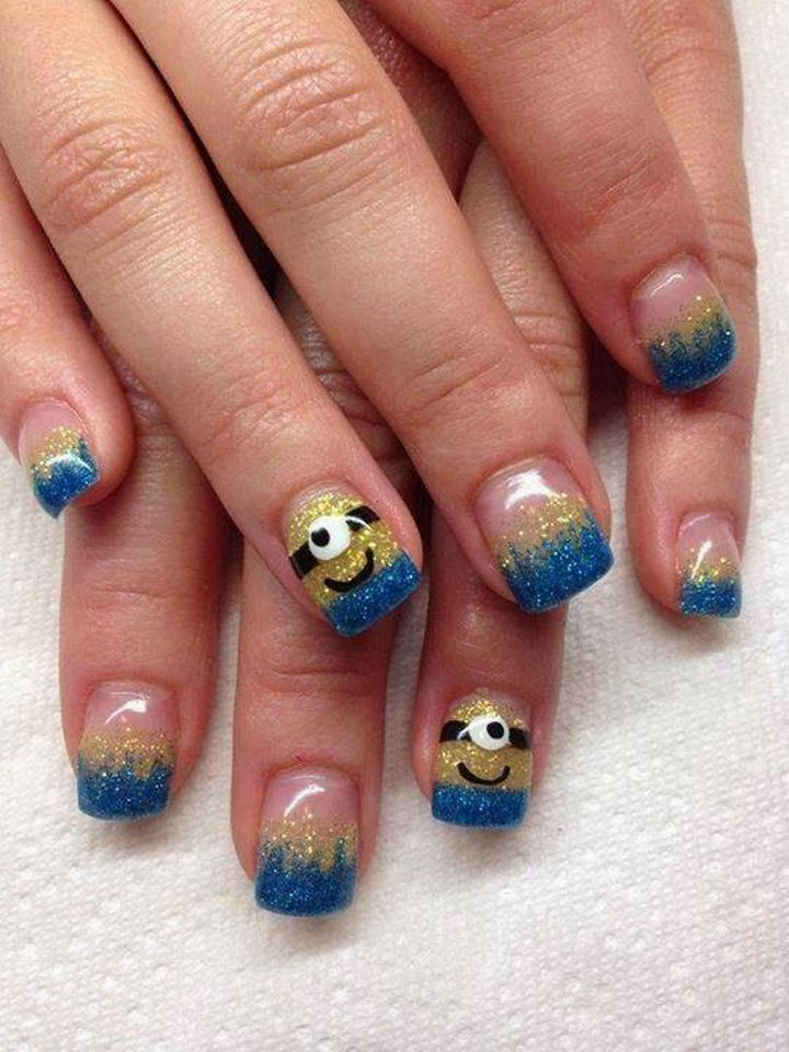 19 Minion Nails - Glittering minions.