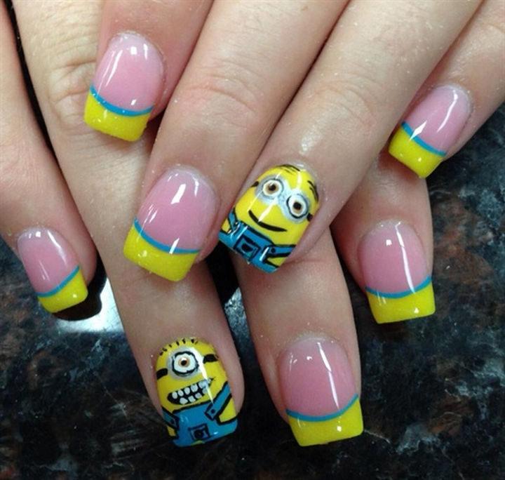 19 Minion Nails - Cute minion nail art design.