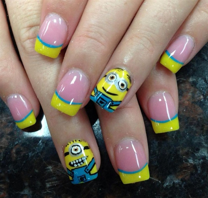 19 minion nails that are adorable go bananas with minion nail art 10 cute minion nail art design prinsesfo Images