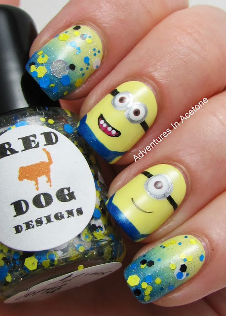 19 Minion Nails - Minions in a bottle.