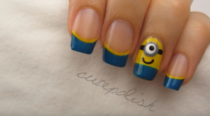 19 Minion Nails - Make these super cute minion nails with this awesome video tutorial.