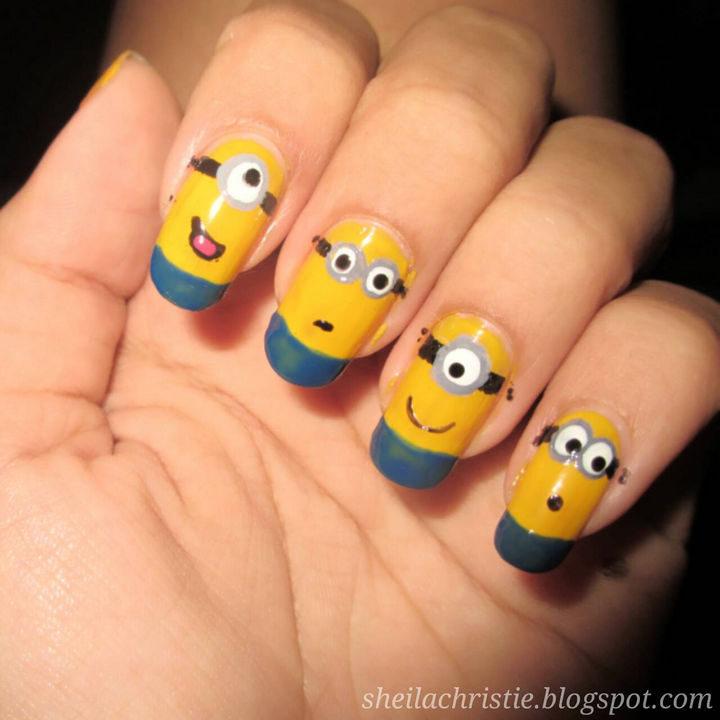 19 Minion Nails - Awesome minion nails.