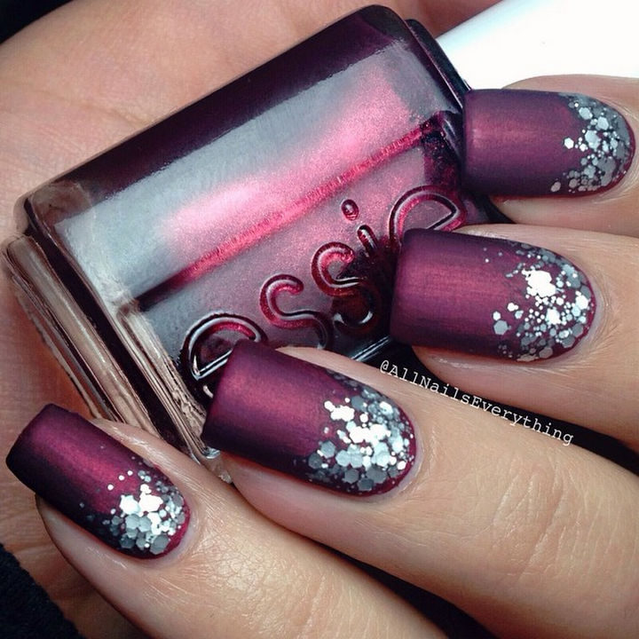 20 Matte Nails - A glitter gradient that makes this shimmering look perfect for the holidays.