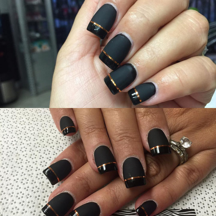 20 Matte Nails A Twist On The French Manicure Featuring And Glossy Black