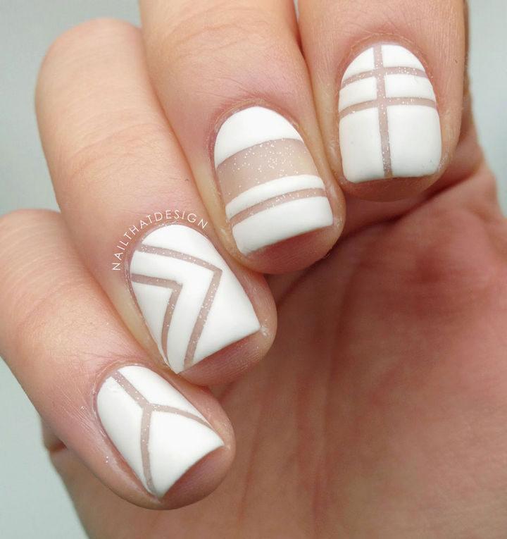 20 Matte Nails - Modern looking negative space matte nails.