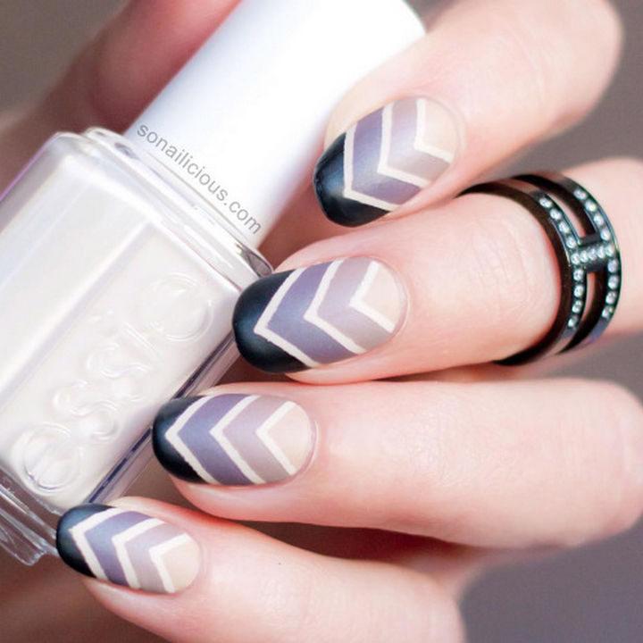 20 Matte Nails - Chevron cashmere matte nail art.