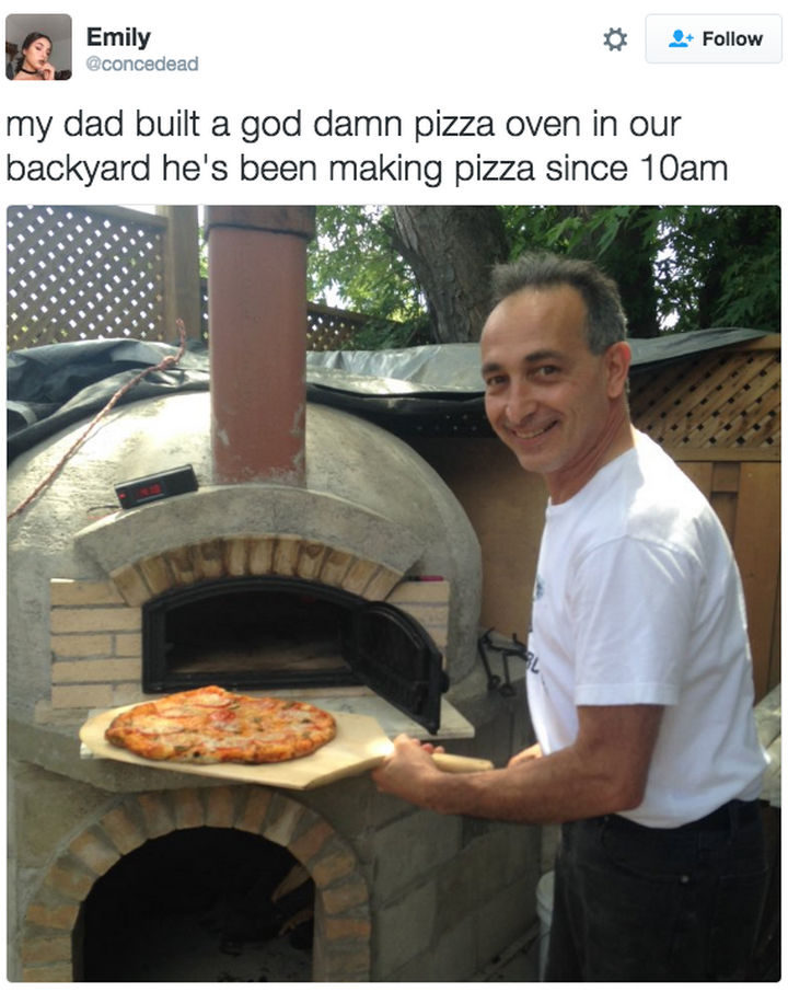 30 Happy Pictures - Dad is proud of his pizza.