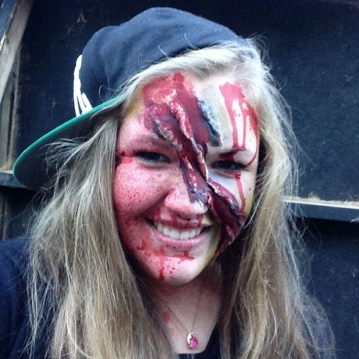 37 Scary Face Halloween Makeup Ideas - Slasher victim.