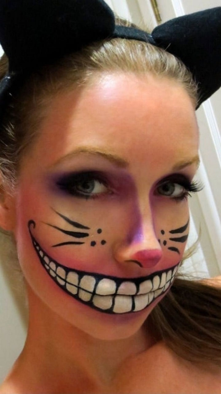 37 Scary Face Halloween Makeup Ideas - Awesome Cheshire Cat.