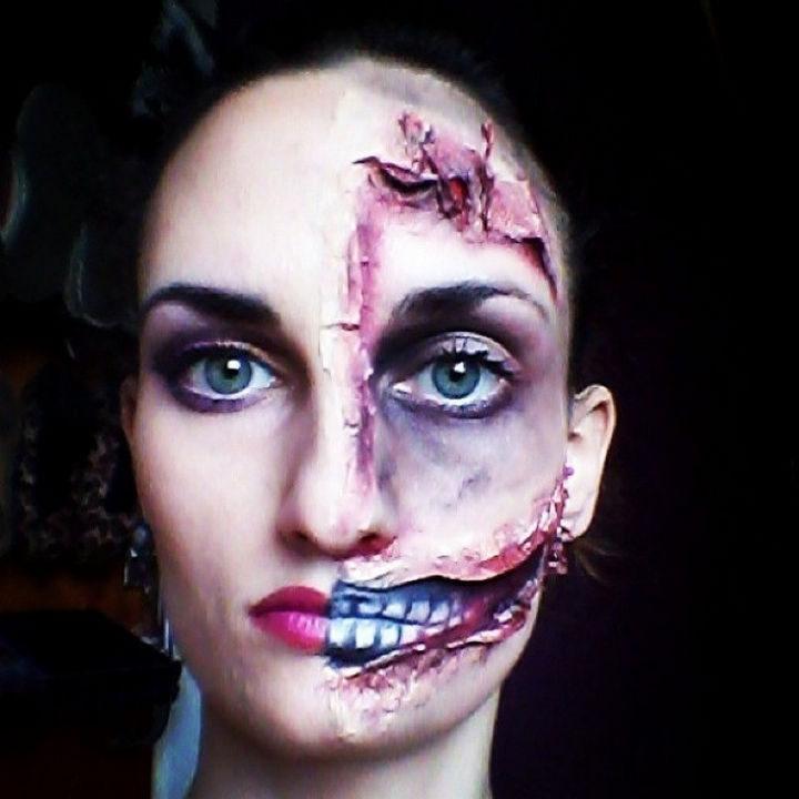 37 Scary Face Halloween Makeup Ideas - Half and half face.