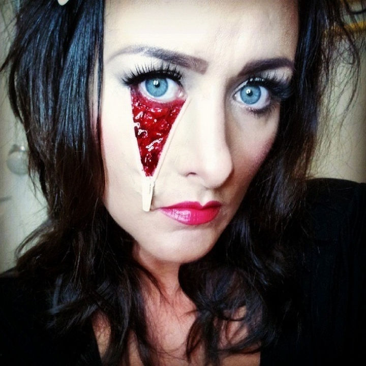 37 Scary Face Halloween Makeup Ideas - Zipper face.