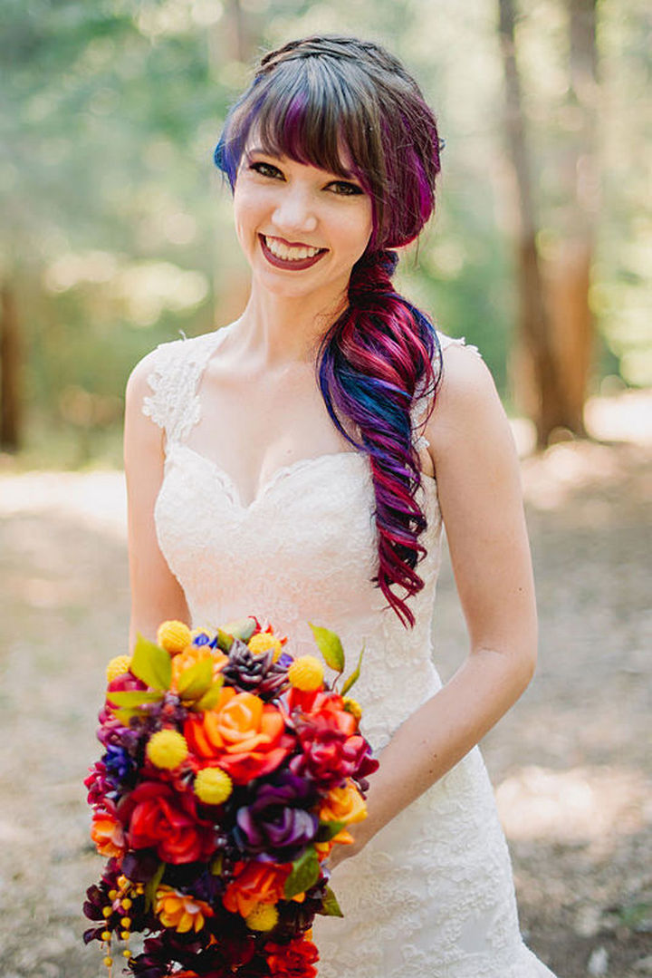 Everything from the flowers to her hair is matched perfectly and looks great.