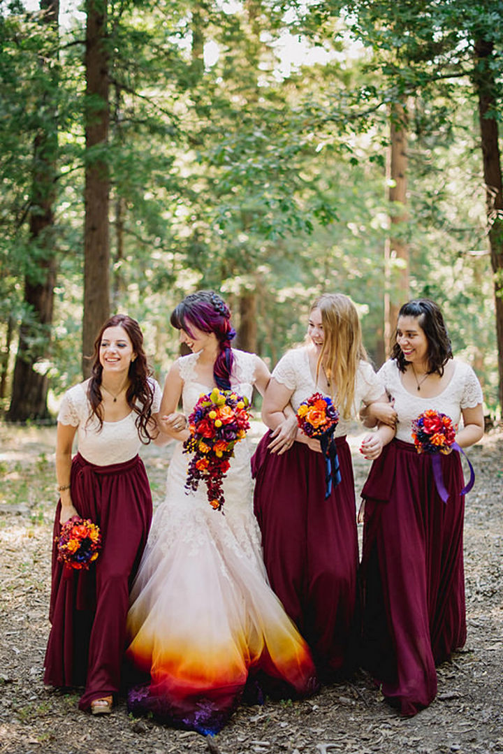 The entire bridal party is also color coordinated in the same color palette as Linko's wedding dress.