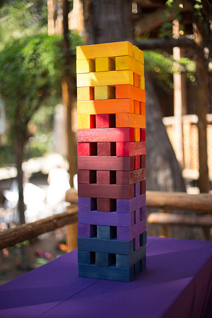 "Even the Jenga set has been painted using a ""sunset"" color palette."